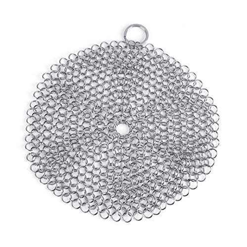 Delaman Chainmail Scrubber Stainless Steel Chainmail Scrubber Rust Proof Scraper Cleaner for Cast Iron Pan Pot Cookware Kitchen Accessories