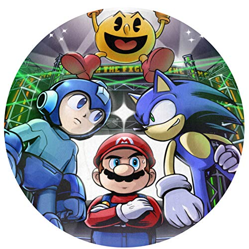 YUELIZHOU Super Smash Bros Mario Mega Man Circular Non-Slip Mat Bath Mat Area Rug Indoor and Outdoor Decoration,for Hard Floors,Provides Protection and Cushion for Area Rugs and Floors