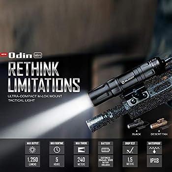 Olight Odin Mini Lampe de Tactique Support M-lock ultra-compact LED Blanc Neutre 1250 lumen Lampe Torche Puissante Militaire Rechargeable, avec Batterie 18500 et Boîte Batterie Tidusky (Desert Tan)