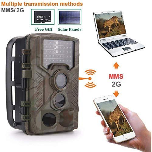 2G Wildkamera Fotofalle 16MP 1080P mit Handy übertragung, Jagdkamera 2G GSM GPRS 42 Pcs Low-Glow 940nm IR-LEDs, Infrarot-Nachtsicht 20m