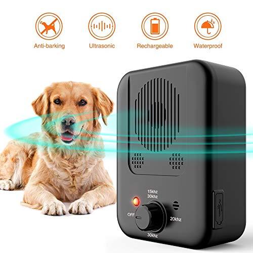 【2020 Upgrade】Anti Barking Control Device, Ultrasonic Dog Bark Deterrent Dog Behavior Training Tool with 3 Frequency Levels, Outdoor Sonic Bark Deterrents Silencer Stop Barking