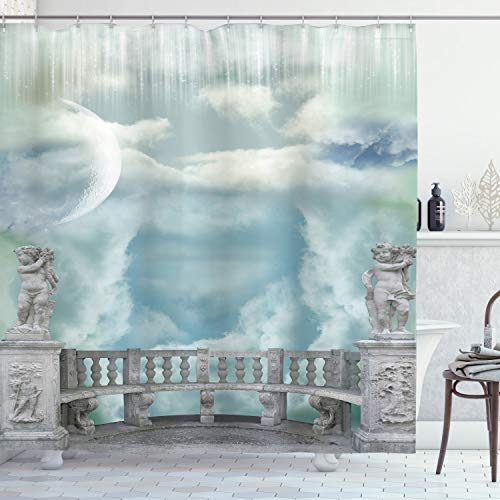 Ambesonne Mystic Shower Curtain, Balcony in The Sky with Angel Castle in Victorian Style Architecture, Cloth Fabric Bathroom Decor Set with Hooks, 75' Long, White Blue