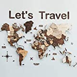 3D Wood World Map With Backboard - Wall Art Large Wall Decor - World Travel Map ALL Sizes (M L XL) Any Occasion Gift Idea - Wall Art For Home & Kitchen or Office