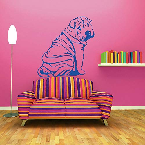 Geiqianjiumai Niedlicher Hund Wandtattoo Tier Wandtattoo Schlafzimmer Wohnzimmer Wandtattoo Kunst Wandbild blau 42x49cm