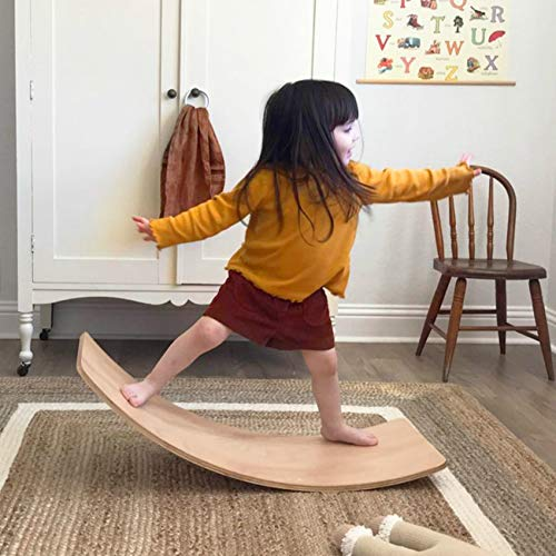 little dove Wooden Balance Board with Playmat Wobble Board & Race Track Mat Preschool Toys Early Learning Kid Yoga Curvy Board - Rocker Board Kid Size Natural Wood with Coloring Cloth