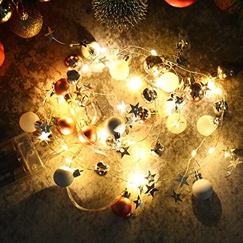 Cadena de Luces de Navidad Luces LED de Cadena de Hadas Luz de Guirnalda de Navidad con Bolas Campana Estrella con Pilas Navidad Bolas Adornos para Interior Exterior Decoración Árbol de Navidad Boda