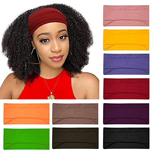 10 Pack Wide Headbands for Women, Workout Yoga Running Sports Headband Elastic Hair Bands, Soft Non Slip Sweat Bands Cute African Head Wrap Turban (solid headbands)