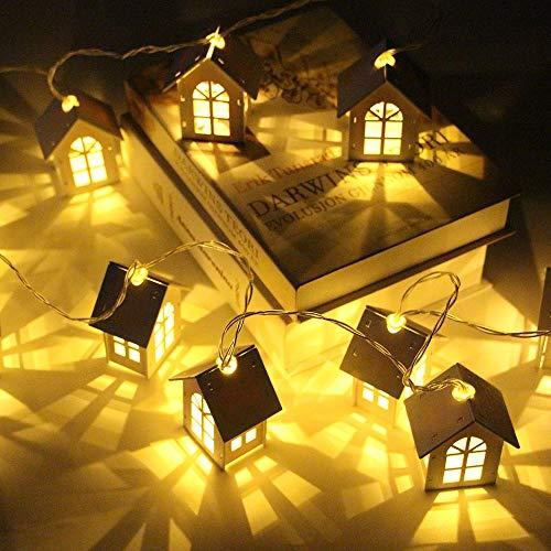 HenShiXin Impermeable 10/20 Led House Party del Estilo LED Luces de Navidad Garland Año Nuevo la decoración del hogar luz de la Secuencia con Pilas Operación fácil (Style : 3m 20 Leds)