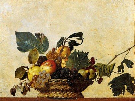 LuxHomeDecor Cadre Impression sur Panneau en Bois MDF Caravaggio Canestra de Fruits Mesure 112 x 77 cm Bord Noir