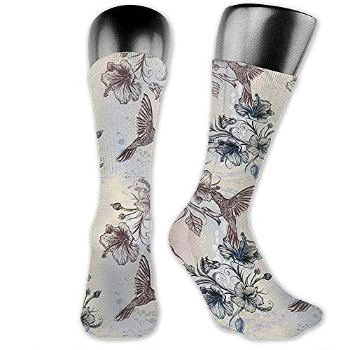 Calcetines de vestir para hombre de alto rendimiento con personalidad de flores de hibisco y pjaros