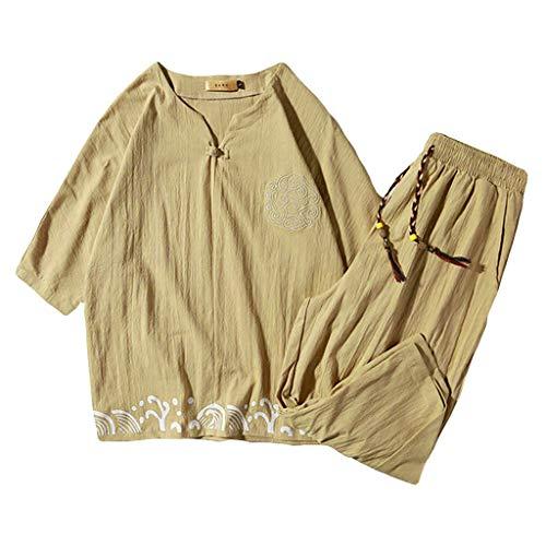 Yowablo Herren Leinenshirt Kurzarm 2-teiliges Outfit Leinen Set Kurzarm Sommer Freizeit Freizeit Lässig Kurz Dünn Sets (3XL,1Khaki)