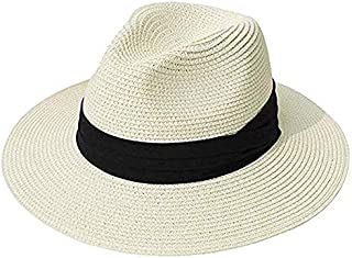 EDCA Hat Summer Sun Hats for Women Man Beach Straw Hat for Men UV Protection Cap (Color : Ivory, Size : L)