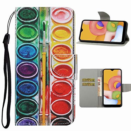 Nadoli Handyhülle für Samsung Galaxy A51,Kreativ Lidschatten Muster Premium Leder Lanyard Magnetverschluss Ständerfunktion Schutzhülle Brieftasche mit Kartenfächer