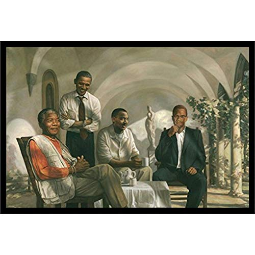 Civil Rights Pioneers Wall Art Decor Framed Print | 24x36 Premium (Canvas/Painting Like) Textured Poster | African American Political Figures Obama, Nelson Mandela, Malcom X & MLK | Bedroom Posters