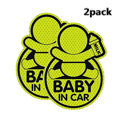 QBUC Baby in Car Sticker ( 2 Packs ), Baby on Board Sticker with Lovely Design 3.4in x 4.9in Baby Car Sticker Reflective Safety Sign Perfect for Bumper, Window in All Weathers
