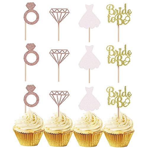 24 Stück Braut Kuchen Topper, Rose Gold Glitter Bride Cupcake Topper, Diamantring, Diamant, Hochzeitskleid, Braut zu sein Brief für Kuchen, Obst, Eis auf Hochzeit, Junggesellenabschied