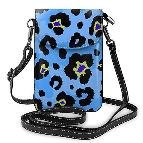 QQIAEJIA Monedero azul con dorado Lgeopard para teléfono celular, bolsa de teléfono, cartera para teléfono celular, monedero para hombres y mujeres