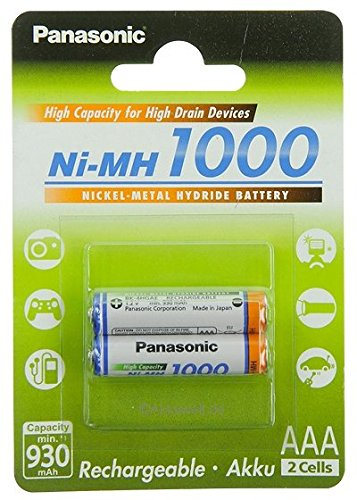 2x Panasonic AAA Akku 1000 Ni-MH Micro 1,2V DECT Telefone Telekom Sinus 300 3...
