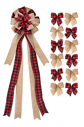 New Traditions - Christmas Tree Topper and 12 Mini Bows Bundle (Red/Black Check & Burlap)