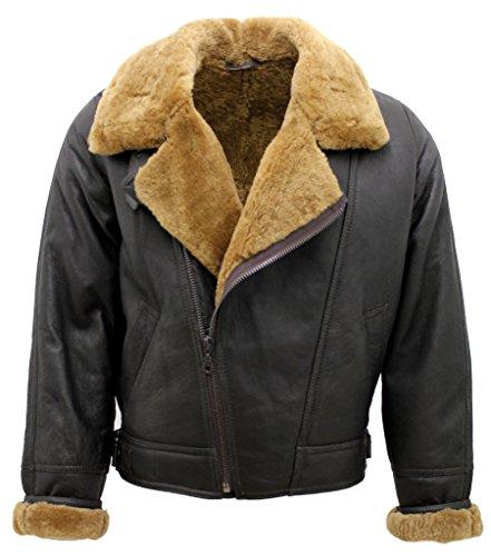 Men's Aviator Cross Zip Ginger Shearling Sheepskin Brown Leather Jacket XL