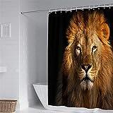 Cortinas de Ducha Modernas Impermeable con 12 Ganchos, Hiser Impresión de león Lavables Tela de Poliéster Ducha Cortinas Bañera Cortinas Cuarto de baño (León marrón,180x180cm)
