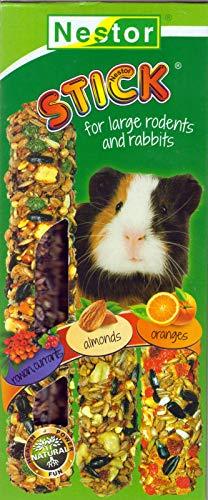 NESTOR 5X Meerschweinchen Futter Leckerbissen 3 Knabberstangen Mandeln .Orange,rote Beeren