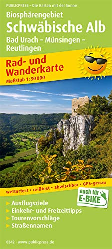 Biosphärengebiet Schwäbische Alb, Bad Urach - Münsingen - Reutlingen: Rad- und Wanderkarte mit Ausflugszielen, Einkehr- & Freizeittipps und Stadtplan ... 1:50000 (Rad- und Wanderkarte / RuWK)