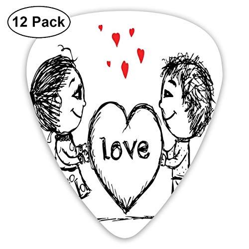 Gitaar Picks12pcs Plectrum (0.46mm-0.96mm), Sketch Paar Holding A Giant Heart Abstract Leuke Kleine Personages Liefhebbers, Voor Uw Gitaar of Ukulele