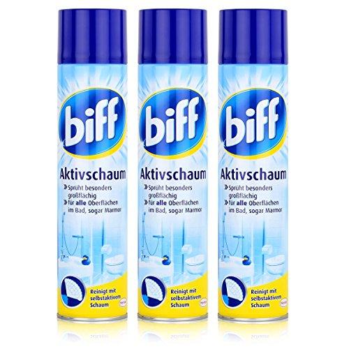 biff Aktivschaum Badreiniger 600ml - Reinigt mit selbstaktivem Schaum (3er Pack)