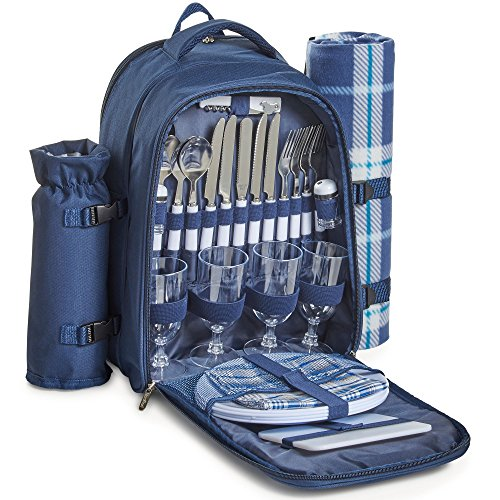 VonShef 4 Person Outdoor Picnic Backpack Bag Set with Insulated Cooler Compartment - Includes Picnic Blanket, Detachable Bottle Wine Holder, Flatware and Plates Navy Tartan