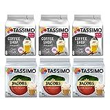 Paquete de variedad de café Tassimo - Jacobs Milk Coffee, Chai Latte, - 6 paquetes (72 porciones)