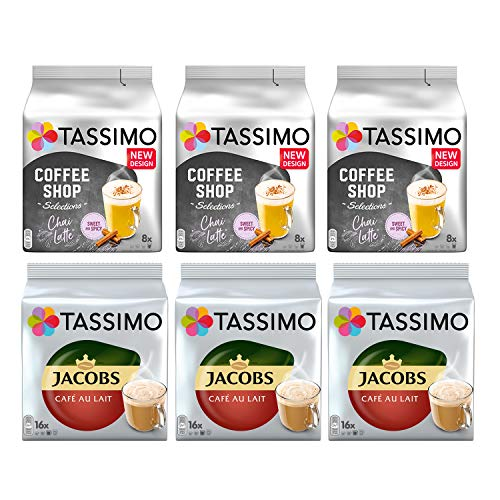 Tassimo Coffee Variety Pack - Jacobs Café Au Lait, Chai Latte, - 6 Packs (72 Servings)