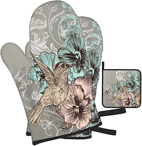 MODORSAN Blumen und Kolibri Ofenhandschuh/Handschuh & Topflappen für leichtes Greifen 3er-Set wasserdichte Stoffoberfläche
