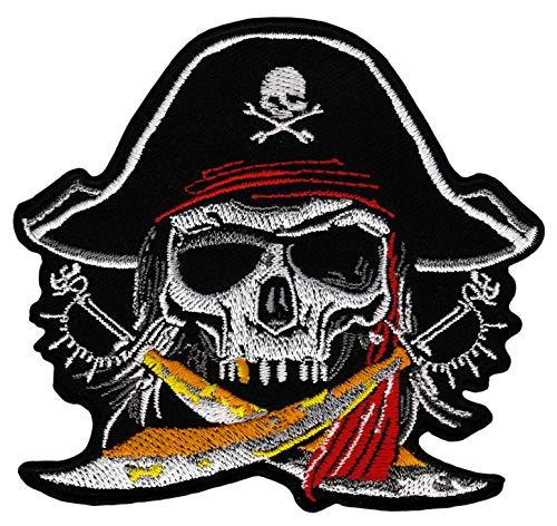 Pirat Totenkopf Aufnäher Bügelbild 9,5 x 8,7 cm
