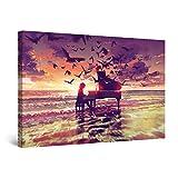 Startonight Cuadro Moderno en Lienzo - Piano de Fantasía en la Playa - Pintura Púrpura para Salon Decoración 60 x 90 cm