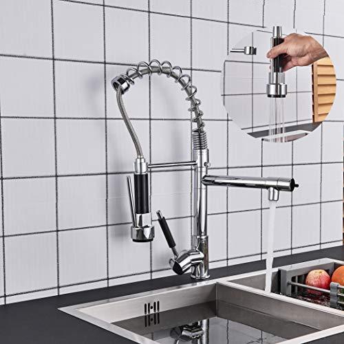 Rozin Küchen Wasserhahn Chrom Armatur 360° schwenkbare Doppeldüse Wasserhahn Hochdruck Kaltes und Heißes Wasser Vorhanden Messing Küchenarmatur