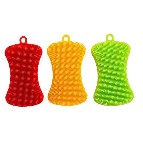 Silikon Schwamm Küche Küchenschwamm - Samtlan Haushalts Teller Reinigungs Schwamm Wäscher, Magischer Intelligenter Schruppen Schwamm für Teller Obst Gemüse, 3 Stück (Grün, Rot, Gelb)