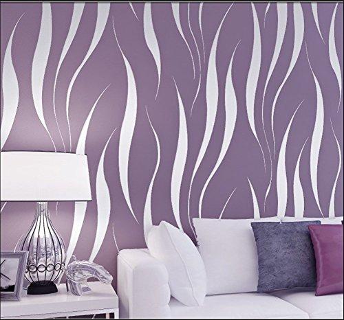 HANMERO Murales de Pared Papel Pintado Rayas Extra Grueso, no Tejido, Papel de Pared dormitorios/salón/Hotel/Fondo de TV/Color Morado,0.53M*10M
