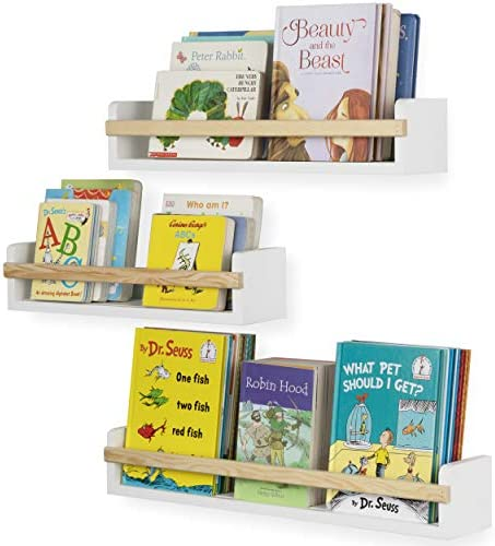 Wallniture Utah Wall Mount Nursery D cor Kids Bookshelf Floating Wall Shelves Book Photo Display product image