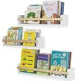Wallniture Utah Wall Mount Nursery Décor Kids Bookshelf Floating Wall Shelves Book Photo Display Varying Sizes Set of 3 White