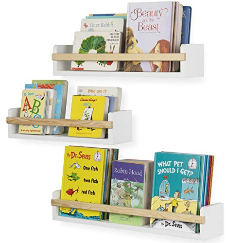 Wallniture Utah Wall Mount Nursery Décor Kids Bookshelf Floating Wall Shelves Book Photo Display Varying Sizes Set of 3 White