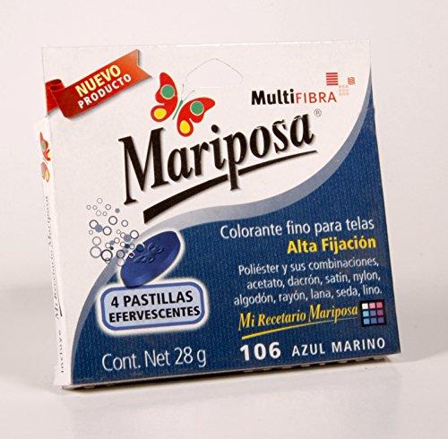 Mariposa Colorante para Ropa, Pastillas de color Azul Marino Numero 106 con 4, 28 g
