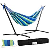 FDW Hammock Stands,Portable Hammock Stand Heavy Duty Steel Stand for Outdoor Patio or Indoor with Portable Carrying Bag,Blue