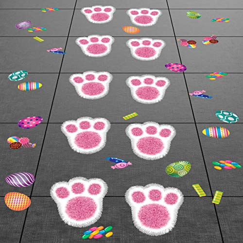 Colonel Pickles Novelties Easter Decorations Bunny Footprints Kit – 80 Total Paw Print Egg & Candy Floor Decals