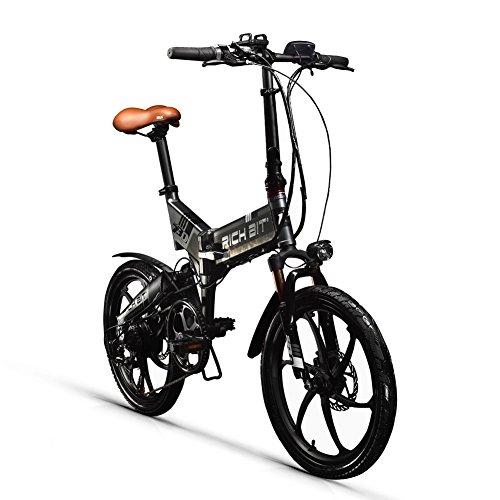 RICH BIT Bicicleta eléctrica, Bicicleta eléctrica Plegable de 20 Pulgadas y 48V con batería de Litio de 10.2 Ah, Bicicleta de Ciudad con Velocidad máxima de 35 km/h, Doble Freno de Disco