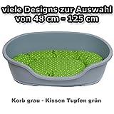 adena Hundekorb 71 x 48 cm grau + Kissen Tupfen grün
