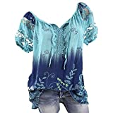 Womens Loose Plus Size Floral Print T-Shirt Tee S-5XL, Lace Ruffle Short Sleeve V-Neck Basic Top Tie Dye Ugly Shirt Blouse Blue