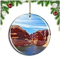 パウエル湖アリゾナ米国クリスマスデコレーションオーナメントクリスマスツリーペンダントデコレーションシティトラベルお土産コレクション磁器2.85インチ