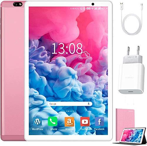 Tablet 10 Zoll Android 10 64 GB (720p/1080p Full HD-Display) - 4GB ram 4G Dual-SIM/SD, Tablets Quad Core, Type C, 5MP+8MP Kamera, Große 8000mAh Akku Bluetooth WiFi Dünne und leichte Tablet PC (Rosa)