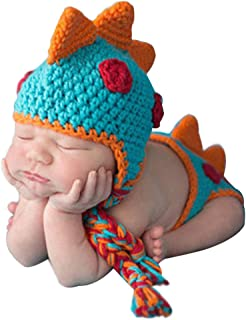 Fasuit Newborn Crochet Dinosaur Diaper Cover and Hat Baby Photography Props